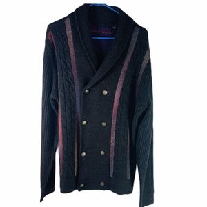 Robert Graham Wool Cable Knit Multi Color Cardigan